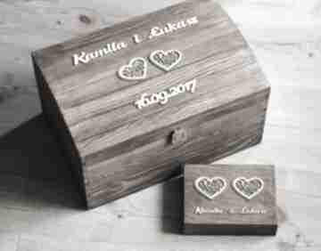 Kufer i pudełko na obrączki z sercami ślub biala konwalia