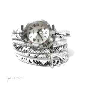 Zegarek, bransoletka - czarno-biały, wężowy chart, pies zegarki