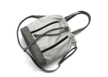 Worek sakiewka - plecionka beż i brąz na ramię torebki niezwykle