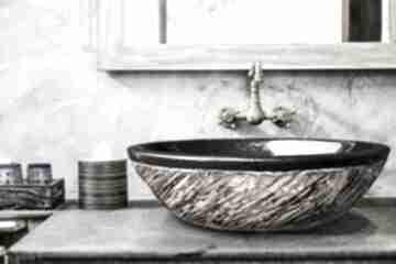 Costa - artystyczna umywalka nablatowa ze złotą strukturą