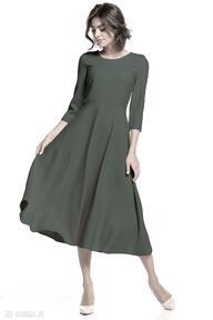 Elegancka sukienka maxi z zamkiem krytym, t327, khaki sukienki