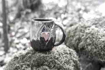 Handmade kubek kamionkowy leśne serce męski 400 ml ceramika