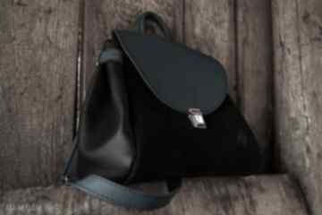 Balbina kuferek skóra naturalna turkus czerń na ramię