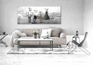 Obraz drukowany na płótnie - kozy w ubraniach 150x60cm ludesign