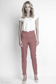 Spodnie z wysokim stanem, sd112 czerwony lanti urban fashion