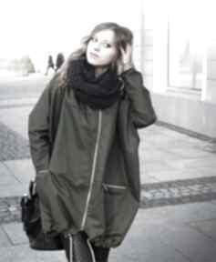 Agagu? Khaki płaszcz oversize ogromny kaptur na jesień rozmiar