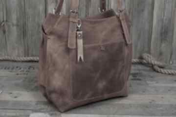 Ręcznie robiona skórzana torebka rudy brąz, brązowa torebka