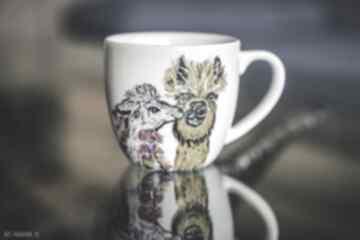 Pracownia Szafran Kubek artystyczny malowane Lamy, Kubki do kawy
