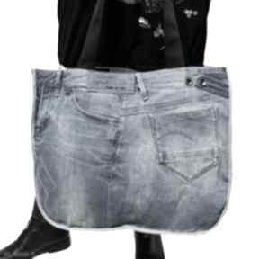 Duża torba upcykling jeans 72 g-star od majunto na ramię