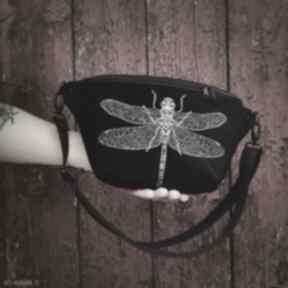 Nerka xxl ważka nerki zapetlona nitka czarna haft, ważka, kwiaty