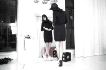 sukienki? Sportowa sukienka z kapturem, T292, granat jasnoszary