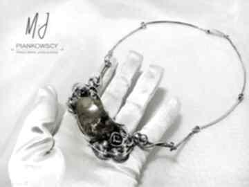 Naszyjnik kolia srebro i bursztyn bałtycki rękodzieło unikat