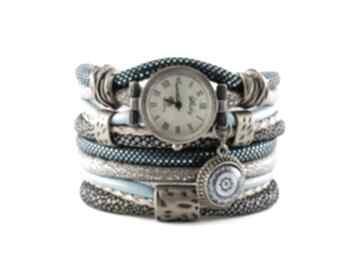 Zegarek - bransoletka w kolorach morskim i beżowym zegarki megi