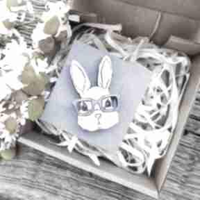 Broszka królik broszki homemade by n królik, ręcznie malowana