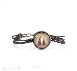 Bransoletka - kotki brązowa, antyczny brąz, sznureczki liliarts