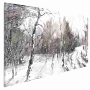 Obraz na płótnie - las zima drzewa 120x80 cm 62601 vaku dsgn