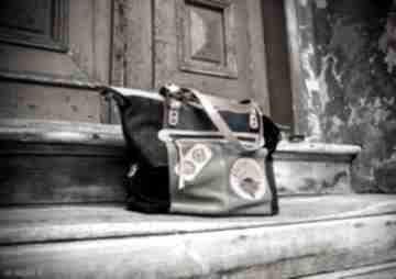Oryginalna skórzana torebka z naturalnego weluru, ręcznie
