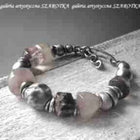 Miodowa bransoletka z bursztynu i srebra szarotka bursztyn