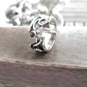Pierścionek półotwarty z cyrkonią anna grys obrączka, srebrny,