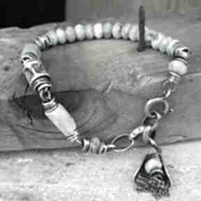 Larimar - bransoletka arvena srebro oksydowane, larimar