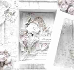 Kartka w pudełku okolicznościowa róże scrapbooking kartki made