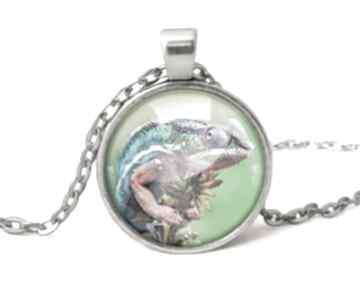 Kameleon medalion łańcuszkiem naszyjnik natura jaszczurka prezent