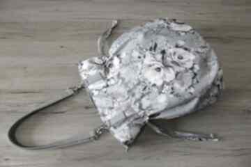 Shopper bag sack - kwiaty na szarym tle ramię torebki niezwykle