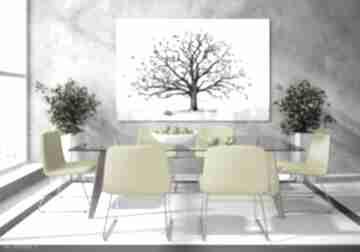 Nowoczesny obraz do salonu drukowany na płótnie z drzewem