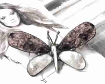 Broszka i wisior: motyl bursztynowy z miodowym cytrynem broszki
