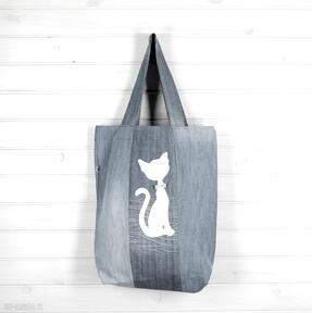Torba dżinsowa z kotem kot dla kociary godeco torba, dżinsowa