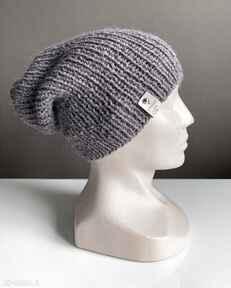 Ręcznie robiona czapka hand made ściągacz 100% alpaka ametyst