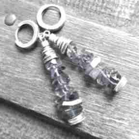 Kolczyki ze srebra i iolitów treendy iolity, oksydowane, prezent