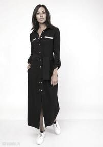 Długa sukienka w stylu militarnym, suk157 czarny sukienki lanti