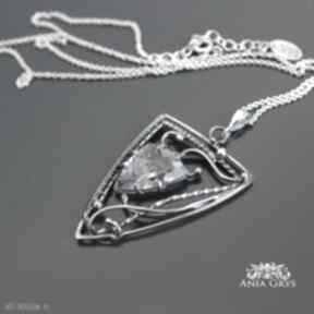 Wisiorki anna grys kwarc, truskawkowy, wirewrapping, srebrny