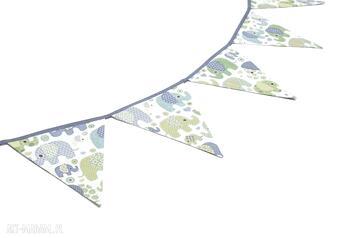 Girlanda proporczyki chorągiewki 160 cm słoniki na turkusie
