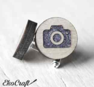 Drewniane spinki do mankietów aparat seria color ekocraft spinki