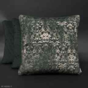 Poduszki welurowe zielone wzór ornament zieleń 45x45cm majunto