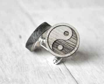 Dębowe drewniane spinki do mankietów yin yang ekocraft spinki