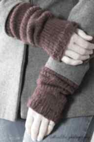 Bordowe rękawki rękawiczki mondu rękawki, dziergane, wełna,