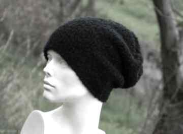 czapki? Alpaca boucle efektowna zimowa czapka czarna