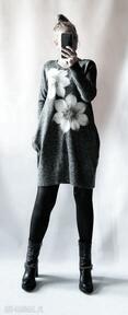 Sukienka wełną zdobiona sukienki feltrisimi sukienka, filcowana