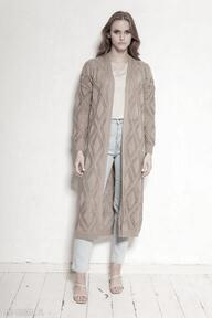 Ażurowy płaszcz - swe145 mocca swetry lanti urban fashion