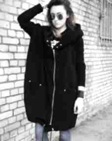 Długa bluza oversize czarna, ogromny kaptur, na suwak m bluzy