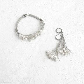 Perłowa biżuteria komplet galeria nuit delikatne perły ecru