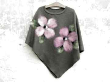Ponczo khaki różowe kwiaty poncho meganaart w-kwiaty, klasyczne