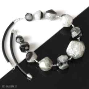 Agat z kwarcem naszyjniki akadi 1 agat, kwarc, srebro, skóra,