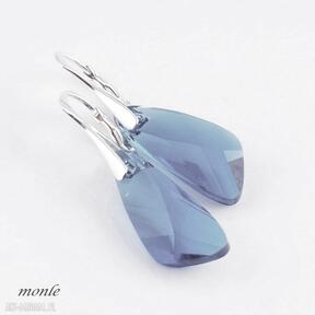 Błękitne skrzydła kolczyki monle kolczyki, swarovski