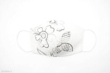 Maska maseczka ochronna bawełniana wyszywana bawełna ecru