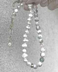 Agat i perła naszyjniki zgustem perły, ognisty, asymetryczny