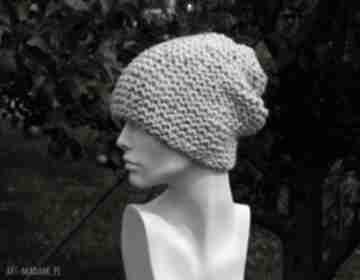Tweed ecru - na prawo czapa zimowa czapki aga made by hand
